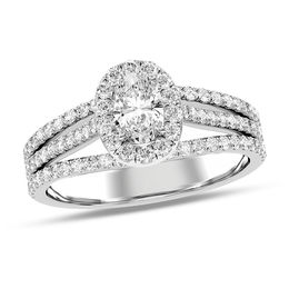 7/8 CT. T.W. Oval Diamond Frame Double Split Shank Engagement Ring in 14K White Gold