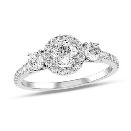 1/2 CT. T.W. Diamond Frame Three Stone Engagement Ring in 14K White Gold