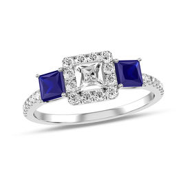 1/2 CT. T.W. Princess-Cut Diamond and Blue Sapphire Three Stone Engagement Ring in 14K White Gold