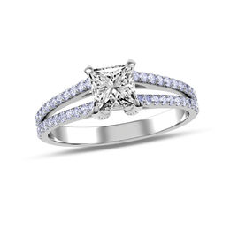 7/8 CT. T.W. Princess-Cut Diamond Split Shank Engagement Ring in 14K White Gold