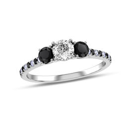 3/4 CT. T.W. Enhanced Black and White Diamond Three Stone Engagement Ring in 10K White Gold