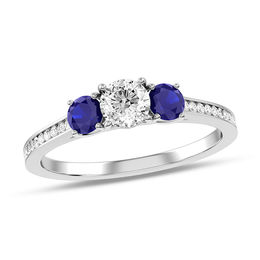 3/8 CT. T.W. Diamond and Blue Sapphire Three Stone Engagement Ring in 10K White Gold