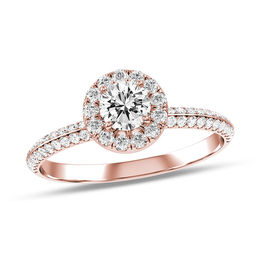 5/8 CT. T.W. Diamond Frame Double Row Engagement Ring in 14K Rose Gold