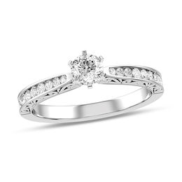 3/8 CT. T.W. Diamond Vintage-Style Scroll Engagement Ring in 10K White Gold