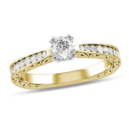 3/8 CT. T.W. Diamond Vintage-Style Scroll Engagement Ring in 10K Gold