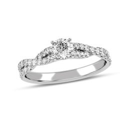 1/2 CT. T.W. Diamond Twist Shank Engagement Ring in 10K White Gold