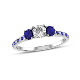 1/3 CT. T.W. Diamond and Blue Sapphire Three Stone Engagement Ring in 10K White Gold