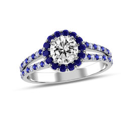 5/8 CT. T.W. Diamond and Blue Sapphire Frame Engagement Ring in 14K White Gold