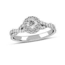 5/8 CT. T.W. Diamond Frame Twist Shank Engagement Ring in 10K White Gold