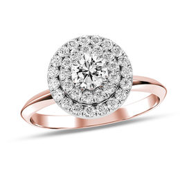 1/2 CT. T.W. Diamond Double Frame Engagement Ring in 10K Rose Gold