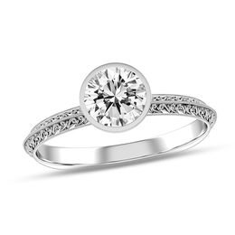 1/2 CT. Diamond Solitaire Vintage-Style Scroll Engagement Ring in 10K White Gold