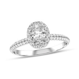 5/8 CT. T.W. Oval Diamond Frame Double Row Engagement Ring in 10K White Gold