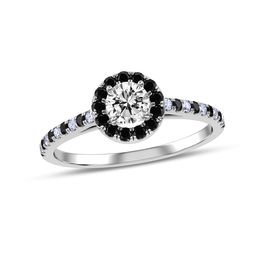 1/3 CT. T.W. Enhanced Black and White Diamond Frame Engagement Ring in 10K White Gold