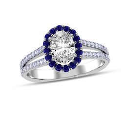 3/4 CT. T.W. Oval Diamond and Blue Sapphire Frame Engagement Ring in 10K White Gold
