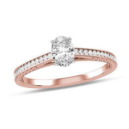 1/2 CT. T.W. Oval Diamond Vintage-Style Scroll Engagement Ring in 10K Rose Gold