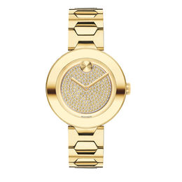 Ladies' Movado Bold® Tbar Crystal Accent Gold-Tone IP Watch (Model: 3600492)