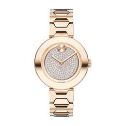 Ladies' Movado Bold® Tbar Crystal Accent Rose-Tone IP Watch (Model: 3600493)
