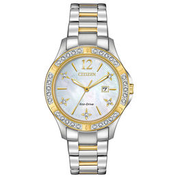 Ladies' Citizen Eco-Drive® Elektra Diamond Accent Two-Tone Watch with Mother-of-Pearl Dial (Model: EW2514-59D)