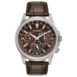 Men's Citizen Eco-Drive® Calendrier Strap Watch with Brown Dial (Model: BU2020-29X)