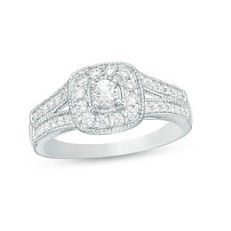 1/2 CT. T.W. Diamond Cushion Frame Vintage-Style Engagement Ring in 10K White Gold