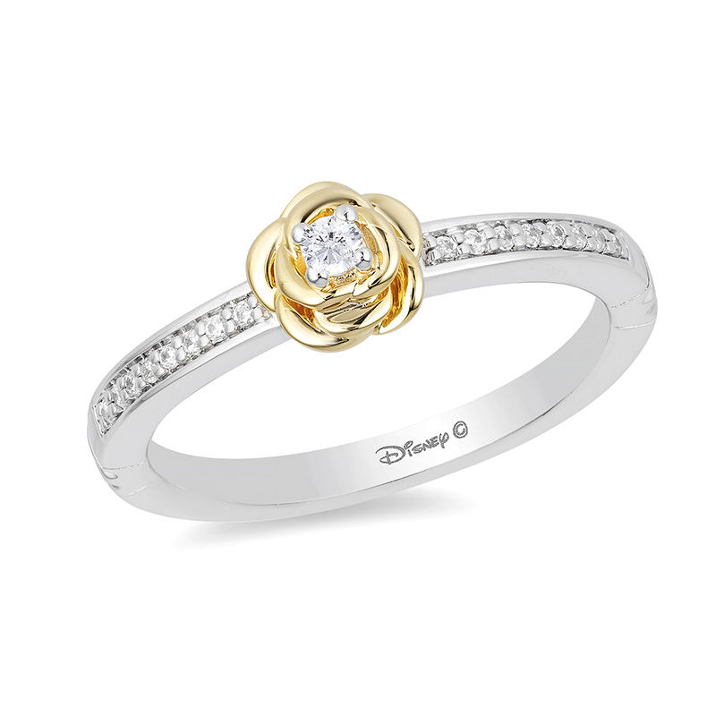 Enchanted Disney Belle 1/10 CT. T.W. Diamond Rose Ring in Sterling Silver and 10K Gold - Size 7