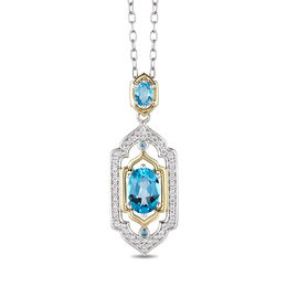 Enchanted Disney Jasmine Oval Swiss Blue Topaz and 1/5 CT. T.W. Diamond Pendant in Sterling Silver and 10K Gold - 19""