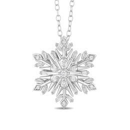 Enchanted Disney Elsa 1/3 CT. T.W. Diamond Snowflake Pendant in Sterling Silver - 19""