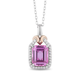 Enchanted Disney Aurora Pink Topaz and 1/8 CT. T.W. Diamond Crown Pendant in Sterling Silver and 10K Rose Gold - 19""