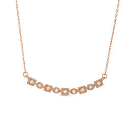 1/8 CT. T.W. Diamond Alternating Marquise and Square Bar Vintage-Style Necklace in 10K Rose Gold