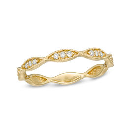 1/10 CT. T.W. Diamond Marquise Twist Vintage-Style Wedding Band in 10K Gold