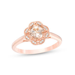 6.0mm Morganite and Diamond Accent Leaf Split Clover Frame Vintage-Style Engagement Ring in 10K Rose Gold