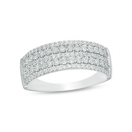 1/4 CT. T.W. Diamond Multi-Row Anniversary Ring in 10K White Gold