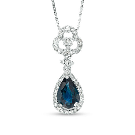 Pear-Shaped Blue Sapphire and 1/8 CT. T.w. Diamond Frame Clover D
