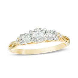 1/3 CT. T.W. Diamond Past Present Future® Tri-Sides Twist Shank Engagement Ring in 10K Gold