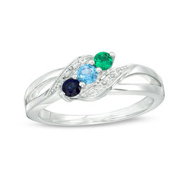 Mother's Genuine Birthstone and Diamond Accent Split Shank Bypass Ring (2-3 Stones)
