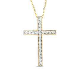 1/3 CT. T.W. Certified Diamond Cross Pendant in 14K Gold (I/I1)