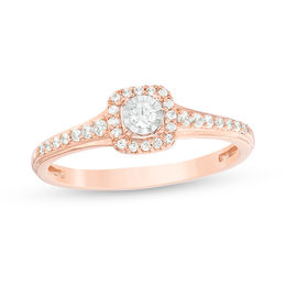 c944762c3 T.W. Diamond Cushion Frame Promise Ring in 10K Rose Gold ...