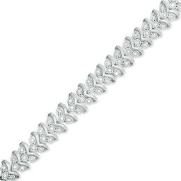 1 CT. T.W. Diamond Three Stone Chevron Bracelet in Sterling Silver - 7.5""