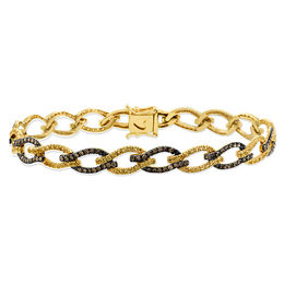 Le Vian® Sunny Yellow Sapphires™ and 1-1/6 CT. T.W. Chocolate Diamonds® Open Flame Link Bracelet in 14K Honey Gold™