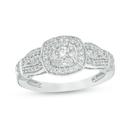 1/2 CT. T.W. Diamond Double Cushion Frame Collar Vintage-Style Engagement Ring in 10K White Gold