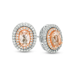 Oval Morganite and 1/4 CT. T.W. Diamond Double Frame Stud Earrings in 10K Two-Tone Gold