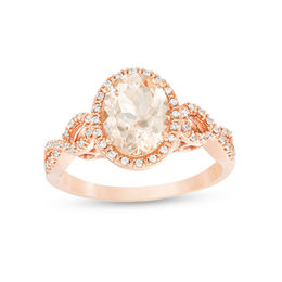 Oval Morganite and 1/6 CT. T.W. Diamond Frame Infinity Shank Engagement Ring in 10K Rose Gold