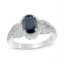 Oval Blue Sapphire and 1/5 CT. T.W. Diamond Frame Scrolling Split Shank Ring in 10K White Gold