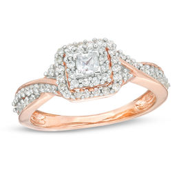 1/3 CT. T.W. Princess-Cut Diamond Double Frame Engagement Ring in 10K Rose Gold