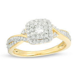 1/3 CT. T.W. Princess-Cut Diamond Double Frame Engagement Ring in 10K Gold