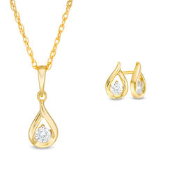 1/4 CT. T.W. Diamond Solitaire Teardrop Flame Pendant and Stud Earrings Set in 10K Gold