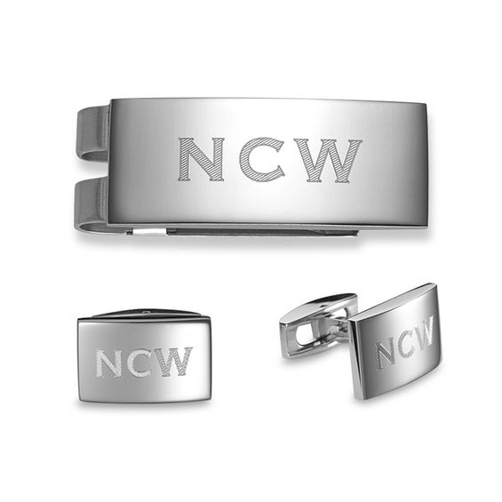 Mens Engravable Money Clip and Cuff Links Set in Stainless Steel