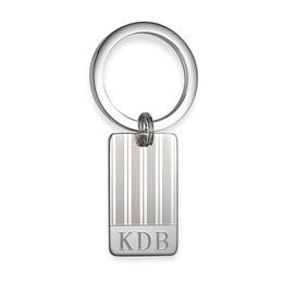 Men's Engravable Rectangular Striped Key Chain in Sterling Silver (3 Initials)