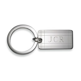 Men's Engravable Rectangular Plaid Striped Key Chain in Sterling Silver (3 Initials)