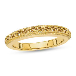 Ladies' 3.0mm Filigree Vintage-Style Wedding Band in 14K Gold